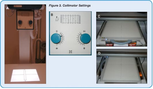 Figure 3. Collimator Settings (A) Picture of the detector and collimator knobs set to size showing the numbers; the initial abdominal field of view is set to the size of the cassette based on the collimator numbers on the light collimator housing. (B) After this the field of view (close-up of collimator) is decreased to appropriate levels based on the size of the dog. (C & D) If the dog is a large or giant breed, you may need to switch the cassette or digital plate from a horizontal position (C, long axis of the dog) to a vertical position (D, longer part of the cassette or digital plate is now perpendicular to the long axis of the dog).