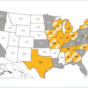 Figure 4. Map of the United States indicating states in which cases of cuterebriasis have been reported in cats (yellow), humans (gray), and cats and humans (yellow stripes). Cases of human and feline cuterebriasis have also been reported in Ontario, Canada (not pictured).